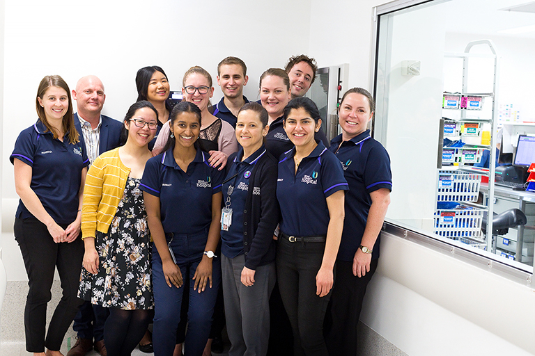 Members of the FSH Pharmacy team standing in a group